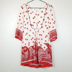 Anthro We Love Vera Silk Poppy Showers Top Size 8